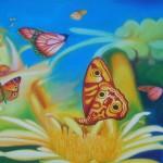 delight, fantasy garden paintings, macro garden, fantasy garden