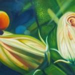 buds, pumpkin buds, green foliage, succulent,