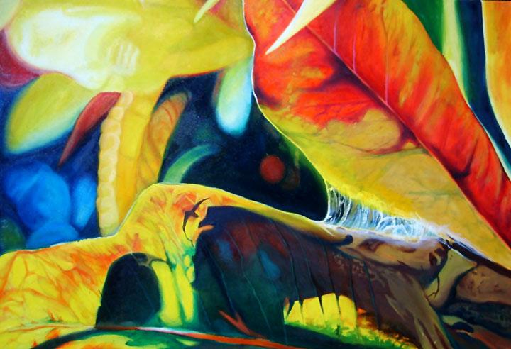 Burnished light, burning light, bright botanical paintings, sunlit leaves