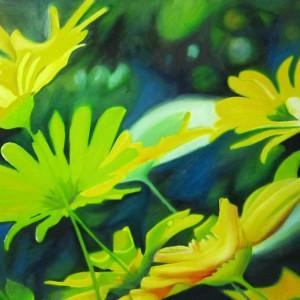 chrysanthemums, yellow flowers, macro flowers, macro flower paintings