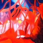 crimson dance, sparking lights, soft focus flowers, crimson
