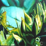 garden ornament, grasshopper paintings, realism, green botanical painting