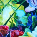 delightful garden grove, damselfly, busy garden, garden paintings, macro garden paintings,