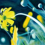 In the light, painting with movement, daisy paintings, flower in wind
