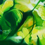 morning grove, yellow leaves, green leaves, floral patterns,