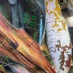 Natural design, botanical paintings, bark, scribble gum, realism,