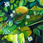 pond, lilies, busy pond、pond paintings,