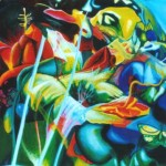 psychofloria, psychedelic flower paintings, botanical, fluorescent colour,