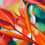 Symphony in scarlet, foliage, red painting, red botanical paintings,