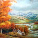 autumn pastel painting, autumn paintings, pastel paintings, landscape paintings