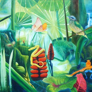 carnival in the jungle, menagerie, animals in the jungle, jungle paintings, green jungle,