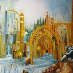 City of Light, golden city, heavenly city, angel paintings,