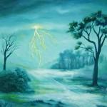 cracking the mist, lightning paintings, blue landscape, soft blue landscape