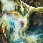 Crucified landscape, abstract landscape paintings, crucifixion, impasto landscape paintings,