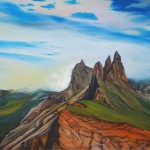 earth and sky, mountain paintings, craggy peaks,
