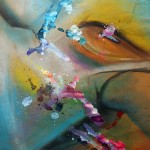 pastel and ink paintings, mixed media paintings, abstract figures,