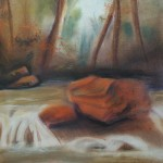forest rapids, landscape sketch, landscape drawings, landscape, sketch, pastel sketch, pastel drawing, pastel landscape drawing, forest forest drawing, pastel forest drawings,