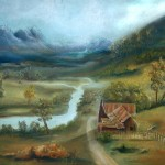 near twilight, twilight, river and mountains, twilight paintings,