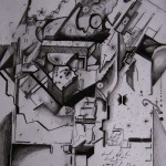 pencil drawing, city drawings, cubist, cubist city