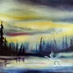 take off, sunset paintings, ibis in flight, golden sunset,