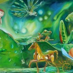 the candy shop, golden horse, fantasy paintings, nursery paintings,