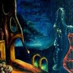 The Old Man in the Moon, moonscape, sci fi painting,