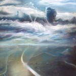 two worlds, sky and land, aerial view of land, pastel landscape paintings,