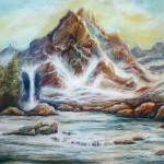 utopian mountainside, pastel mountain paintings, fantasy mountains, fantasy mountain paintings,