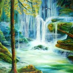 a long way from home, rainforest paintings, waterfall paintings,