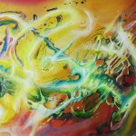 Evolving Structures, cosmic paintings, sci fi paintings, growing,