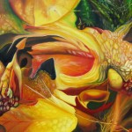 organism, organic, surreal paintings, yellow paintings, leaf paintings,