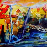 fortunate, abstract surreal paintings, yellow paintings,