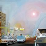 modern deities, spiritual painting, city paintings, surreal city paintings,