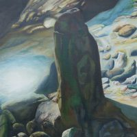 marine paintings, monolith, ocean rocks, seashore paintings, rock pool,