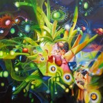 cadenza, botanical surrealist painting,explosion, explosion of flowers,