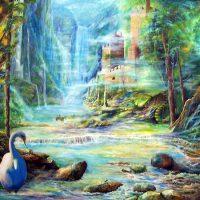 Plenitude, peace paintings, heaven paintings, castle paintings, waterfall paintings, fantasy landscape paintings,