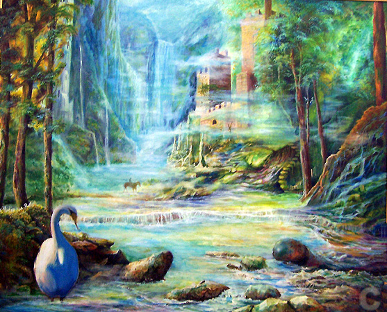 Oil paintings of fantasy landscapes