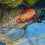 orange rock, Sapphire Beach, seashore paintings, rock pool paintings,