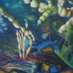 underwater menagerie, underwater paintings, turtle, underwater wildlife paintings,