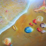 upon the shores of heaven, seashore paintings, shell paintings, heavenly seashore, jewels and shells,