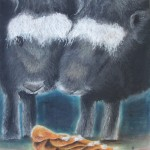Chauvinism, pastel paintings, bison, drumsticks, comic paintings,