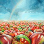 apple paintings, apple painting, landscape of apples, conceptual paintings, apples