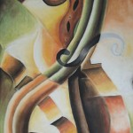 Violin Construction, cubism, violin painting,