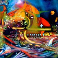 Mecha, city paintings, colourful city, surreal city, conceptual city,