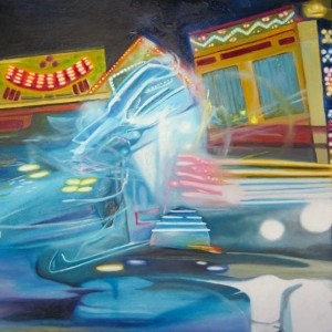 mecha, blurred paintings, fun park lights,