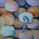 paradox, egg paintings, humorous paintings, realism,
