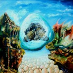 Power, surrealist paintings, turtle in a bubble, conceptual surreal paintings, eggs