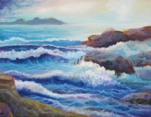 Painting of rough seas in the afternoon