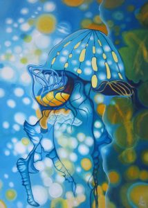 Jellyfish, Downing Centre Exhibition, underwater paintings, blue jellyfish